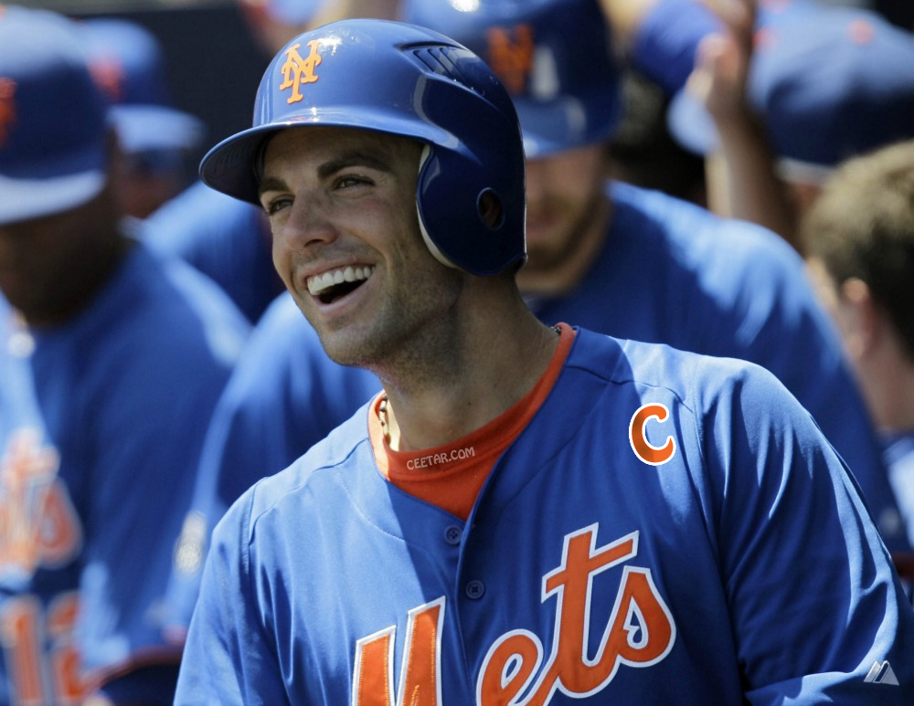 Captain David Wright of the New York Mets in a blue jersey